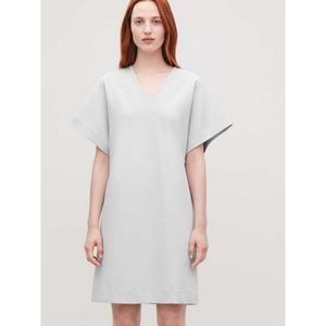 COS Silver Crepe V-Neck Shift Dress Knit Lining S